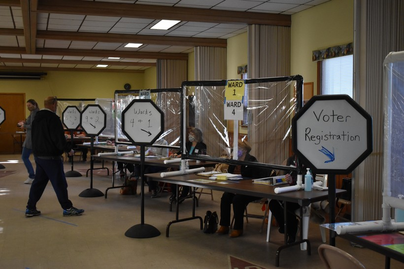 Protection at polling place, Pilgrim Lutheran Church, Wausau
