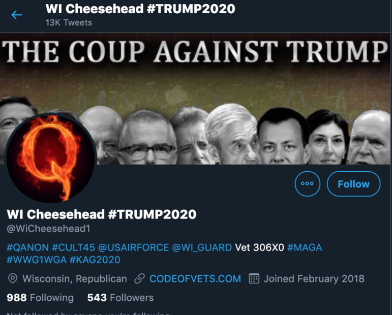 This Twitter account, allegedly based in Wisconsin, promotes President Donald Trump and trafficks in false information