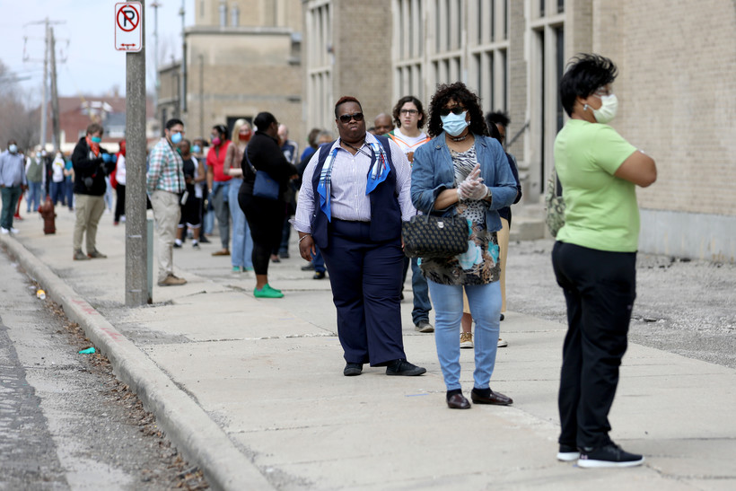 Voters waited for hours in long lines to vote in Milwaukee on April 7, 2020