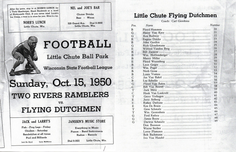 A program from a Oct. 15, 1950 Little Chute Flying Dutchmen game