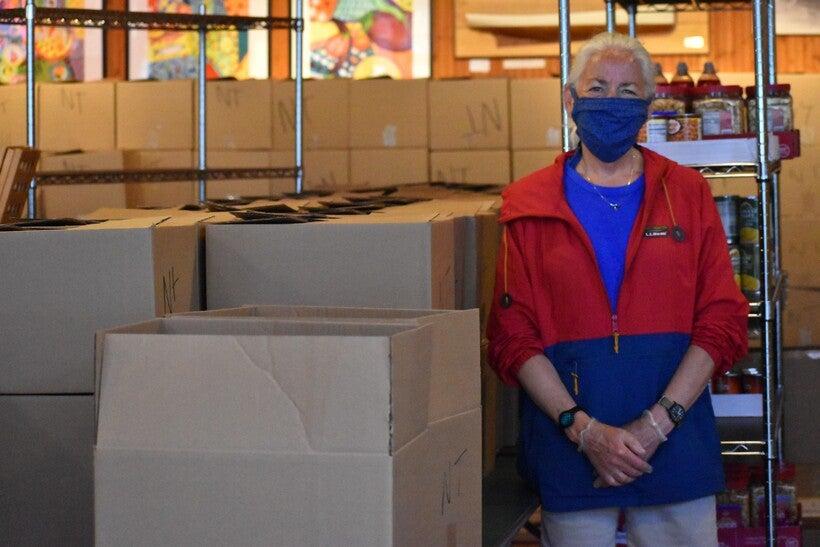 Lisa Luttinen volunteers at Bayfield food pantry