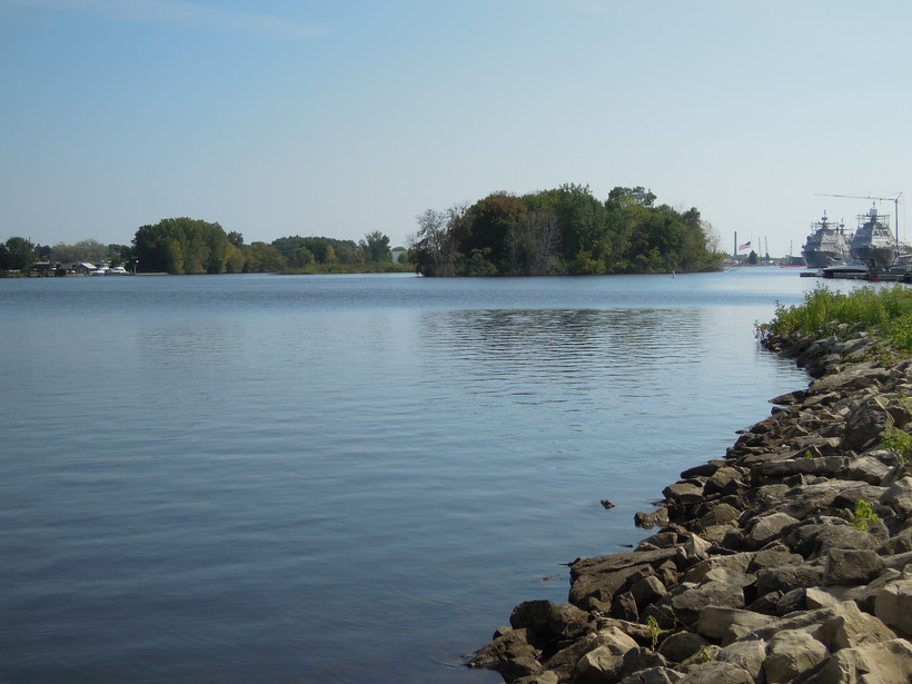A view of the Menominee River by Marinette