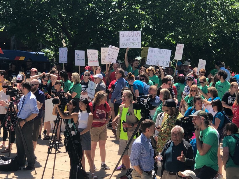 Students, teachers and education advocates rallied at the state Capitol