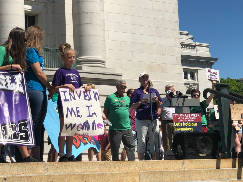 Tara LeRoy speaks at an education rally at the Capitol