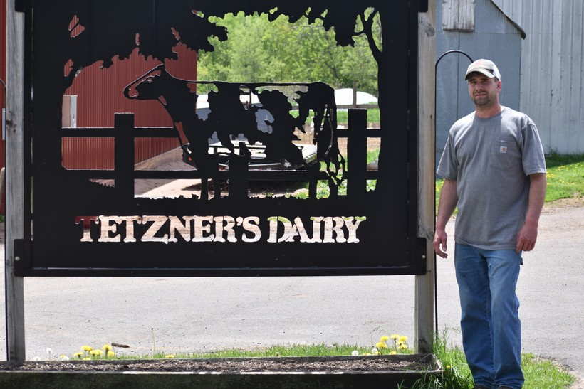 Pete Tetzner with Tetzner's Dairy helps provide milk to area food pantries