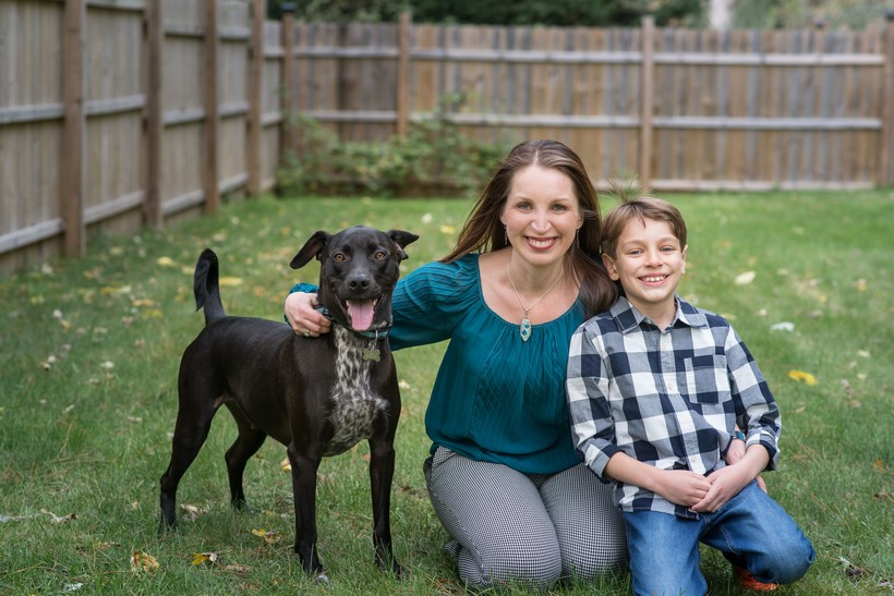 Tricia Zunker, her son Timothy and their dog Diesel