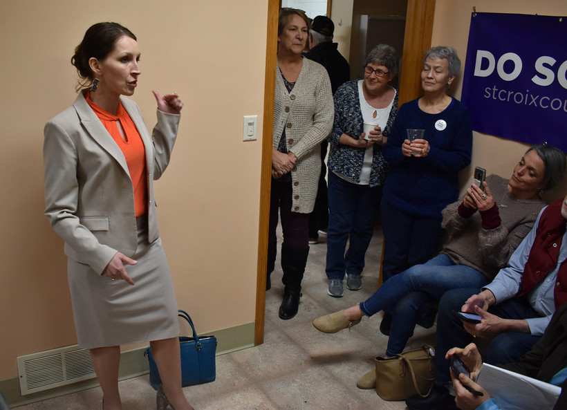 Democratic candidate Tricia Zunker speaks at the chili cookoff