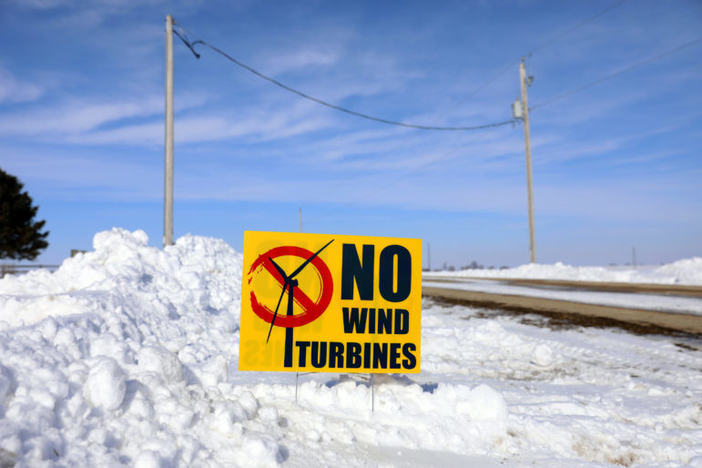 "A sign that reads ""No Wind Turbines"""
