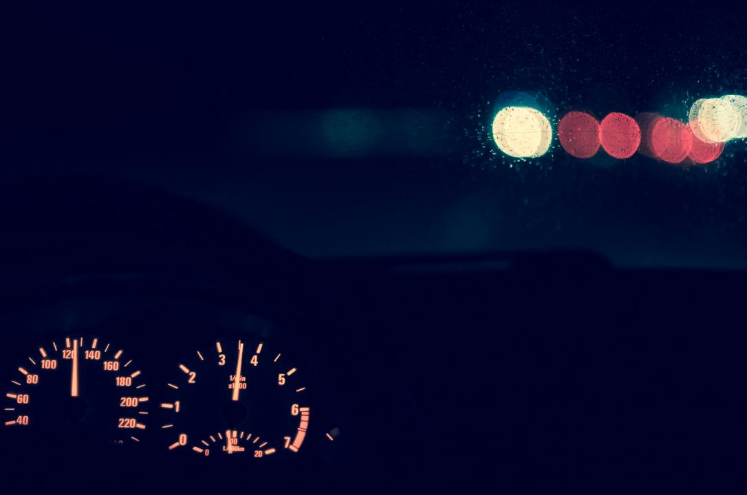car driving at night